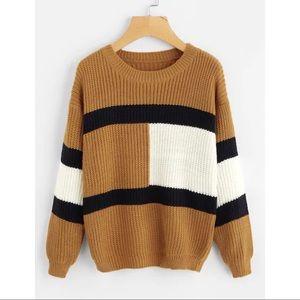 Oversized chunky tan/white/black sweater